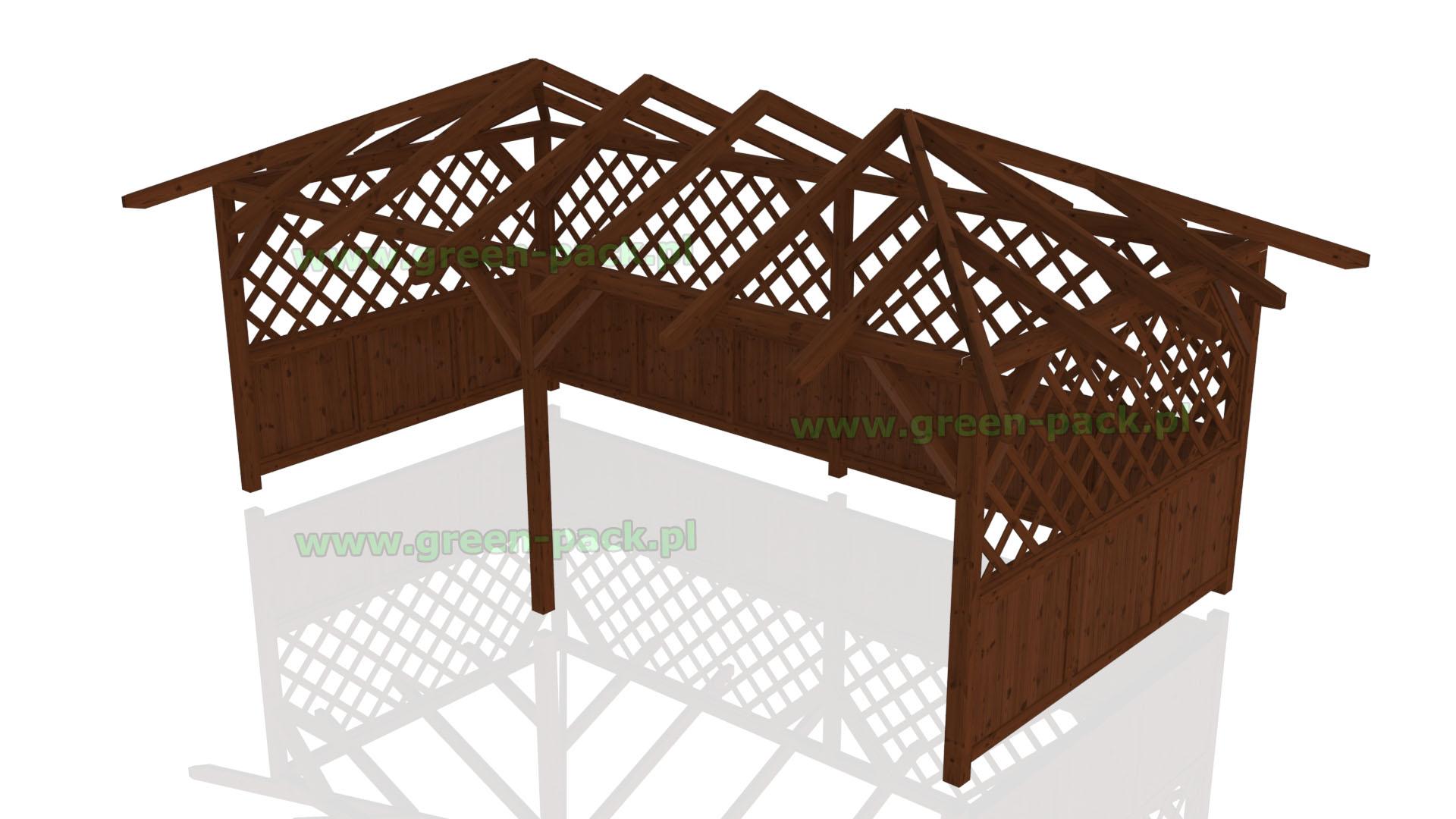 Alatana Ogrodowa Z Drewna Torino Z Dachem Kopertowym